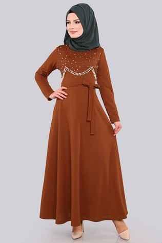 Modaselvim Tesettür İncili Şık Elbise Modelleri