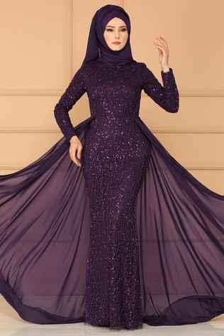 Modaselvim Tesettür Payetli Abiye Elbise Modelleri