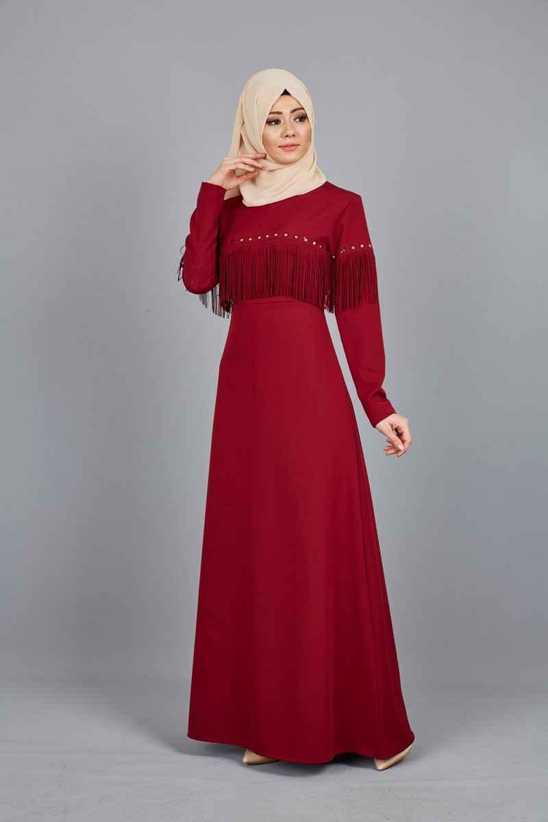 Modern Tesettür Püsküllü Elbise Modelleri