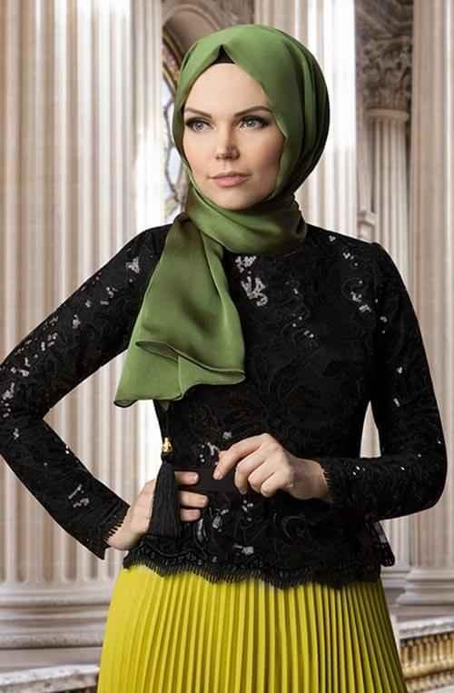 Muslima Wear Tesettür Dantelli Bluz Modelleri