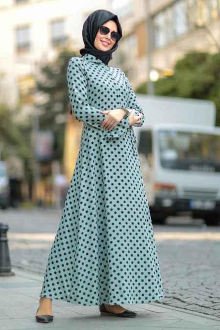 Nayla Collection Şık Tesettür Puantiyeli Elbise Modelleri