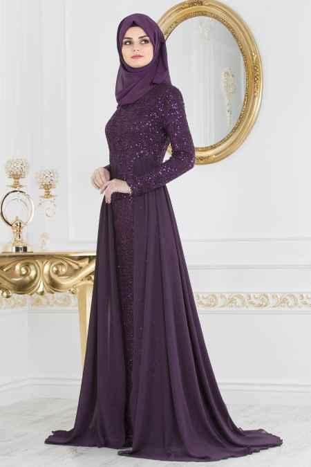 Nayla Collection Tesettür Payetli Abiye Elbise Modelleri