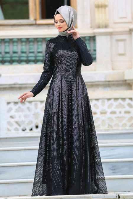 Neva Style Tesettür Payetli Abiye Elbise Modelleri