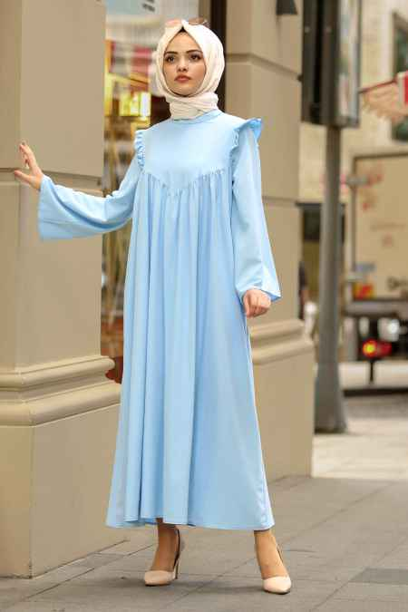 New Kenza Büzgülü Tesettür Salaş Elbise Modelleri