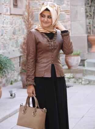 Pınar Şems Yakası ve Kolları Dantelli Deri Ceket Modelleri