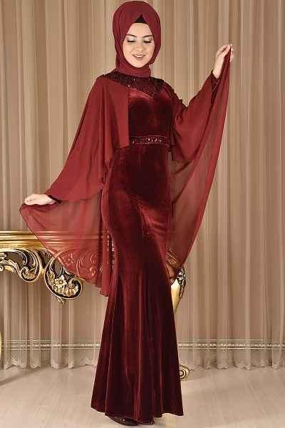Pelerinli Modamerve Tesettür Abiye Elbise Modelleri
