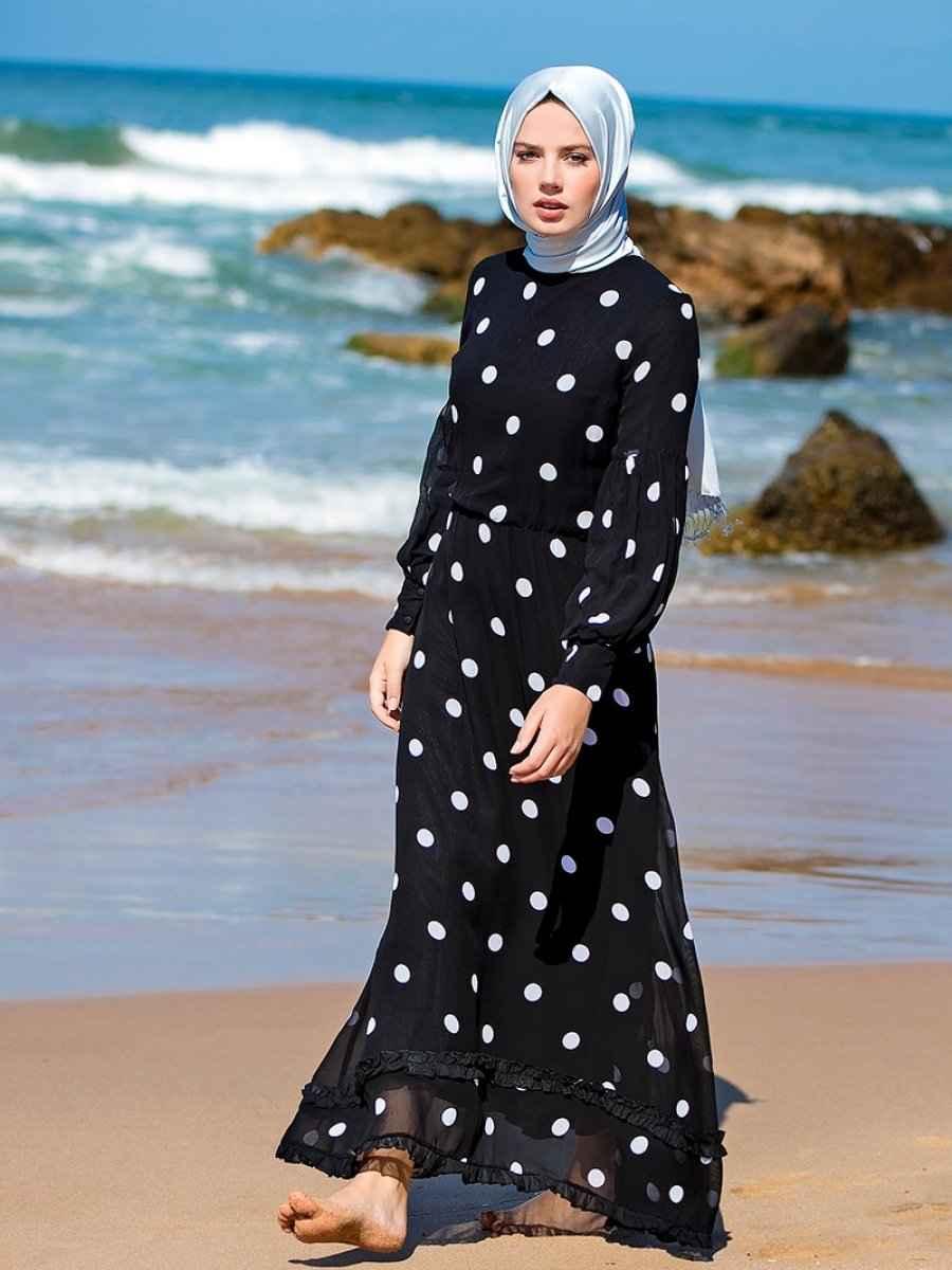 Refka Tesettür Puantiyeli Elbise Modelleri
