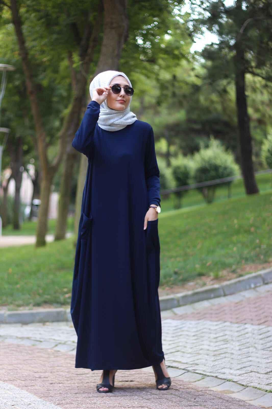 Sandy Kumaş Tesettür Salaş Elbise Modelleri