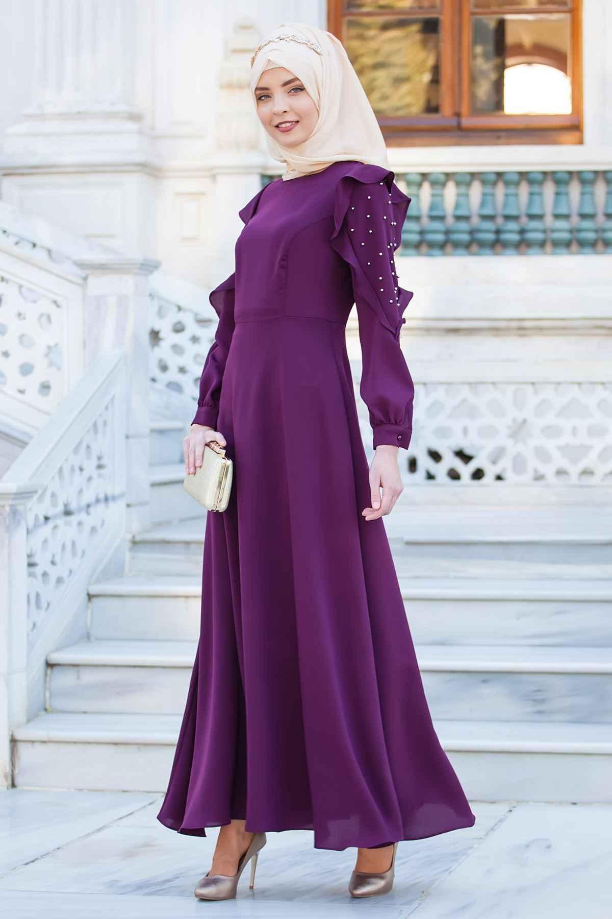 Sedanur Tesettür İncili Elbise Modelleri