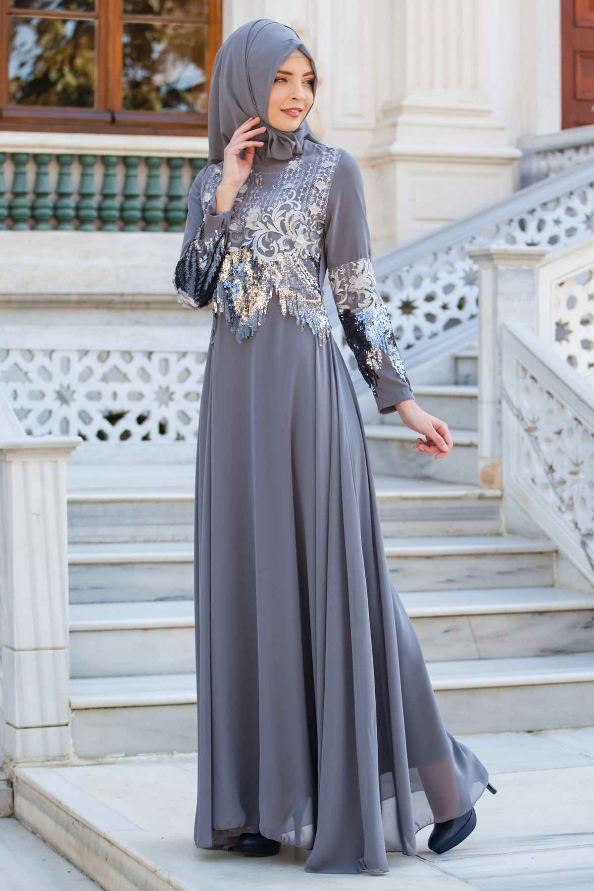 Sedanur Tesettür Payetli Abiye Elbise Modelleri