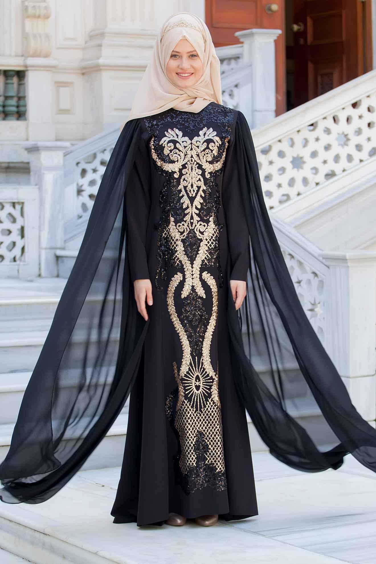 71788983a9cc0 Sedanur Tesettür Pelerinli Pul Payetli Abiye Elbise Modelleri