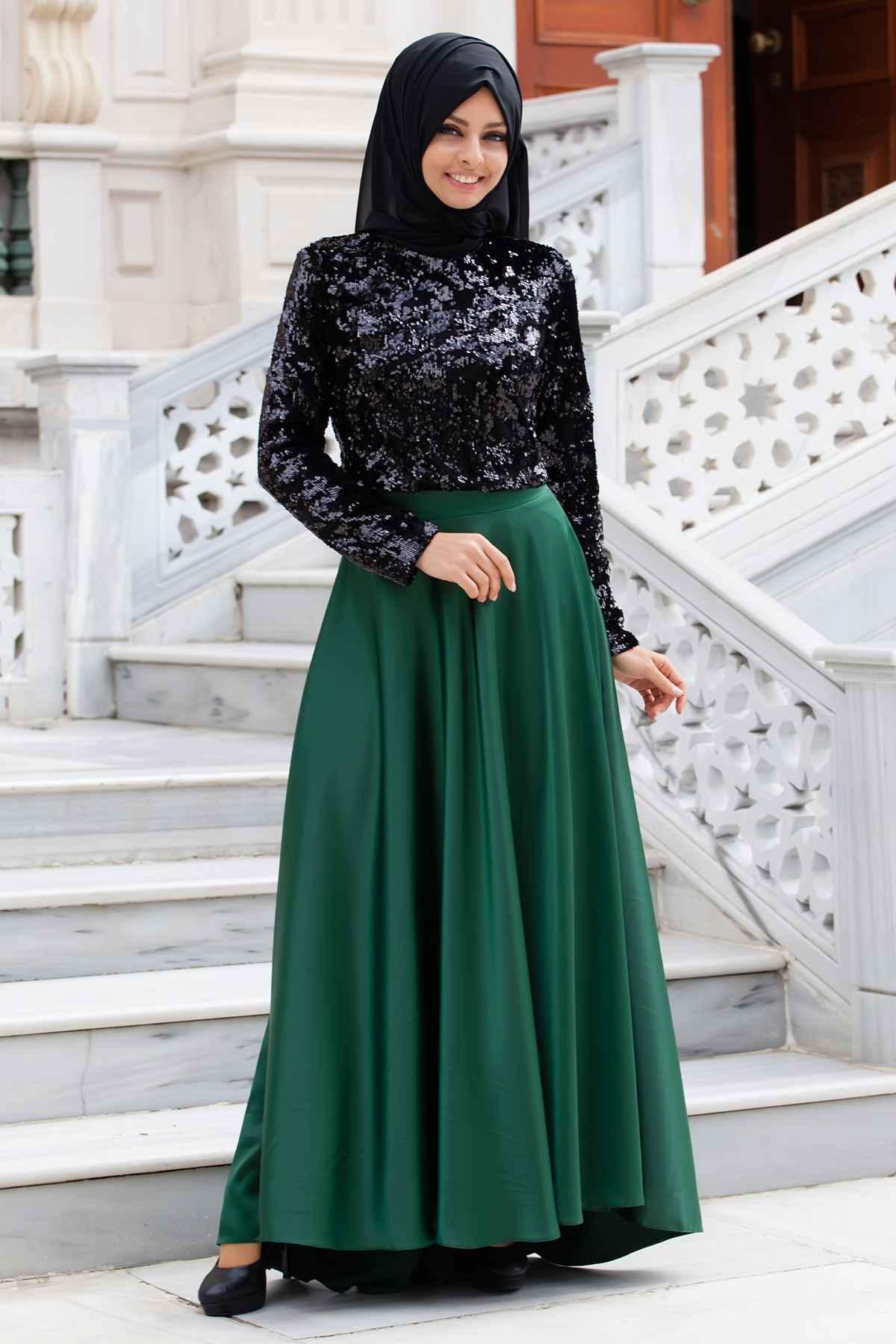 Sedanur Tesettür Pul Payetli Abiye Elbise Modelleri