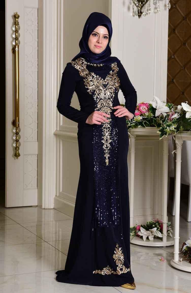 Sefamerve Şık Tesettür Payetli Abiye Elbise Modelleri