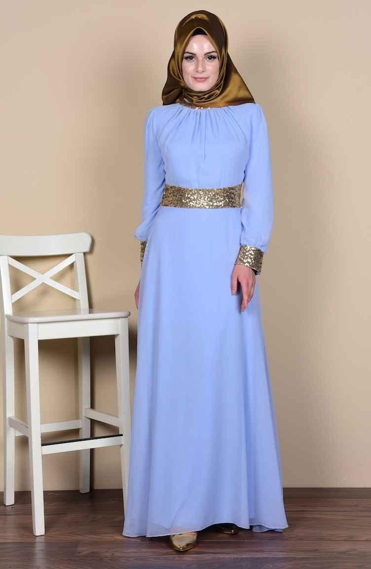 Sefamerve Şifon İşlemeli Tesettür Abiye Elbise Modelleri