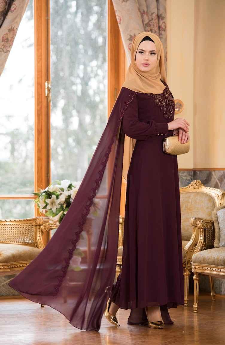 Sefamerve 2018 Pelerinli Tesettür Abiye Elbise Modelleri