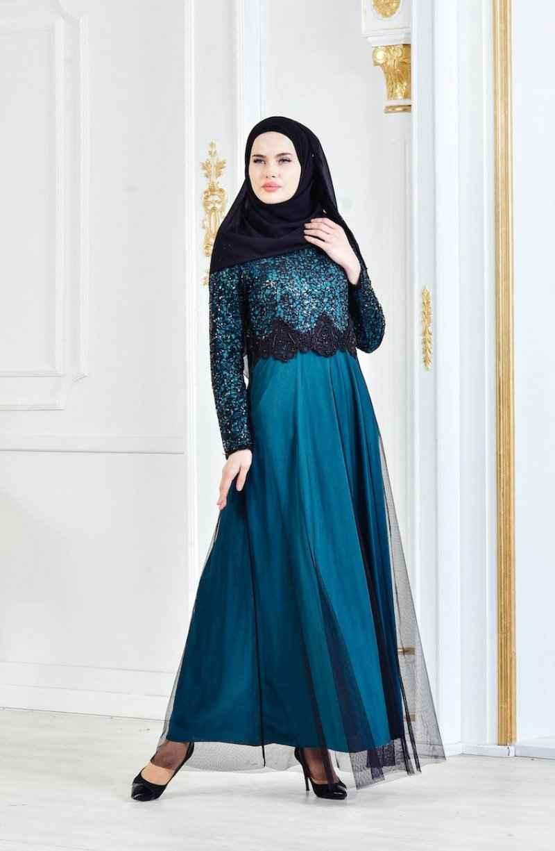 Sefamerve Payetli Tesettür Abiye Elbise Modelleri