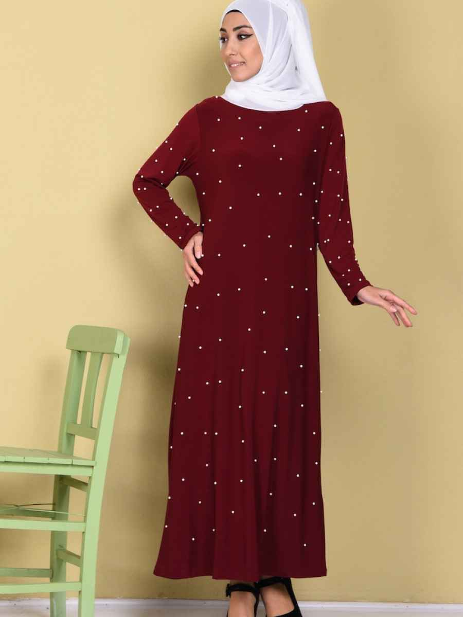 Sefamerve Tesettür İncili Bordo Elbise Modelleri
