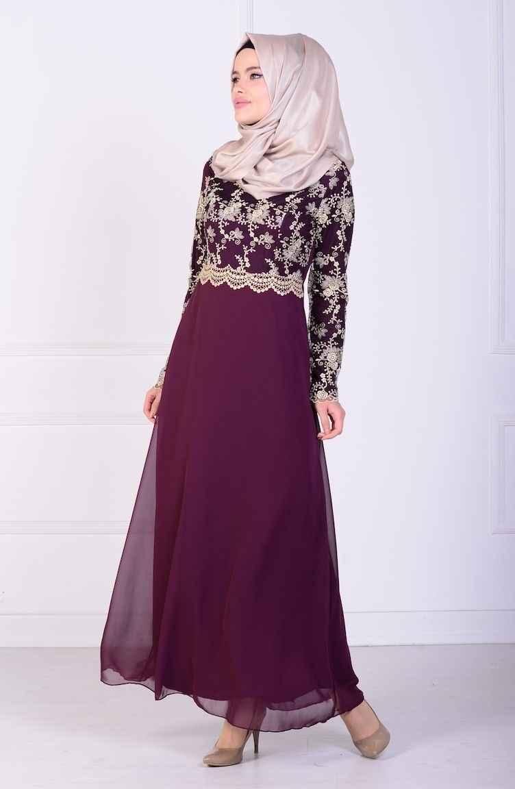 Sefamerve Tesettür Dantelli Abiye Elbise Modelleri