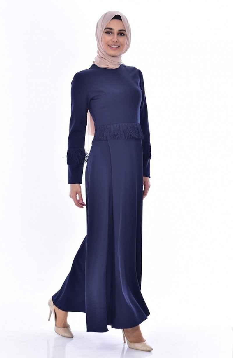 Sefamerve Tesettür Püsküllü Lacivert Elbise Modelleri