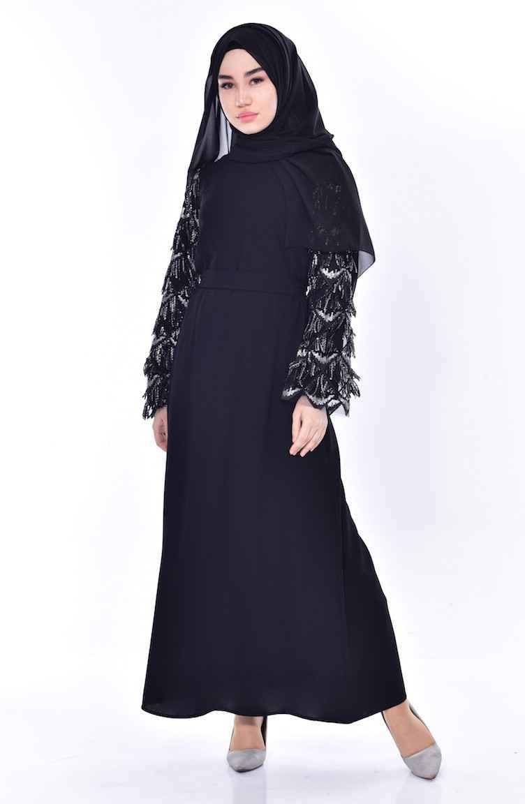 Sefamerve Tesettür Payet Püsküllü Elbise Modelleri