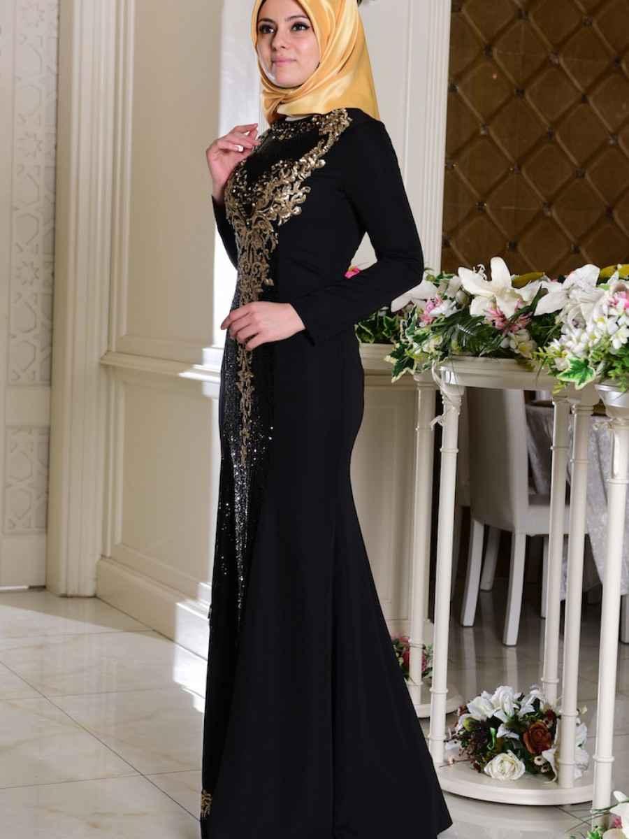 Sefamerve Tesettür Payetli Abiye Elbise Modelleri