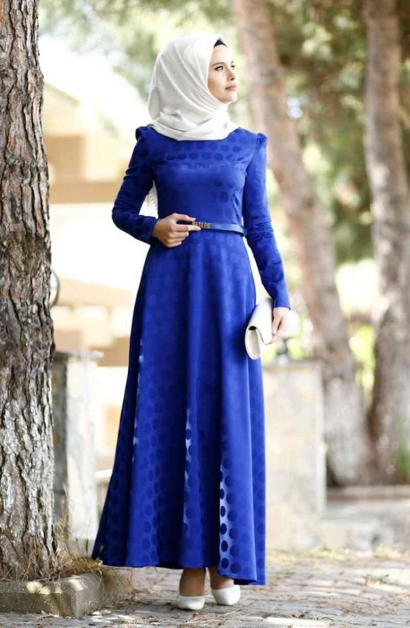 Sefamerve Tesettür Puantiyeli Abiye Elbise Modelleri