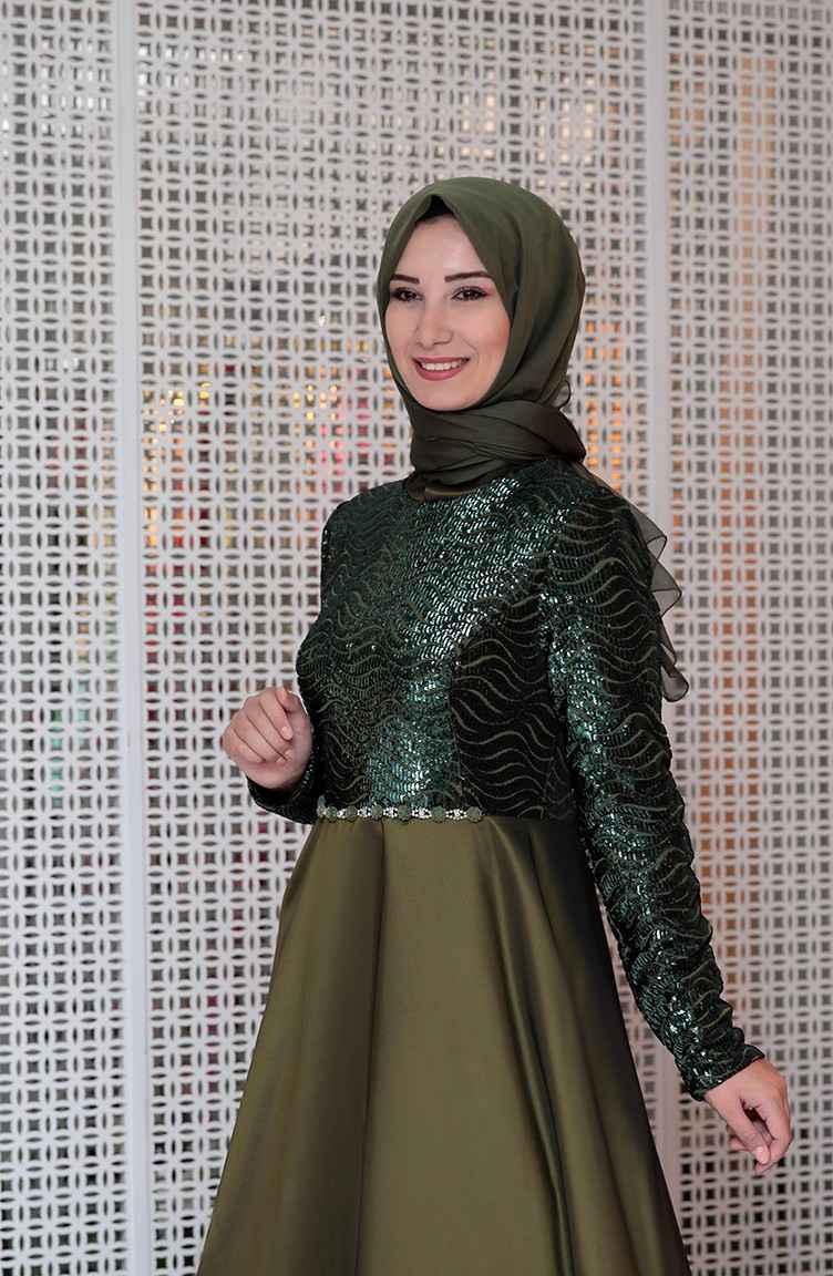 Sefamerve Tesettür Pul Payetli Abiye Elbise Modelleri