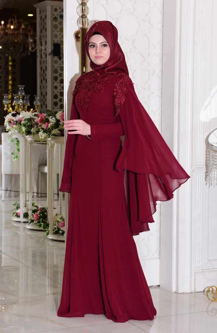 Taş Detaylı Sefamerve Tesettür Abiye Elbise Modelleri