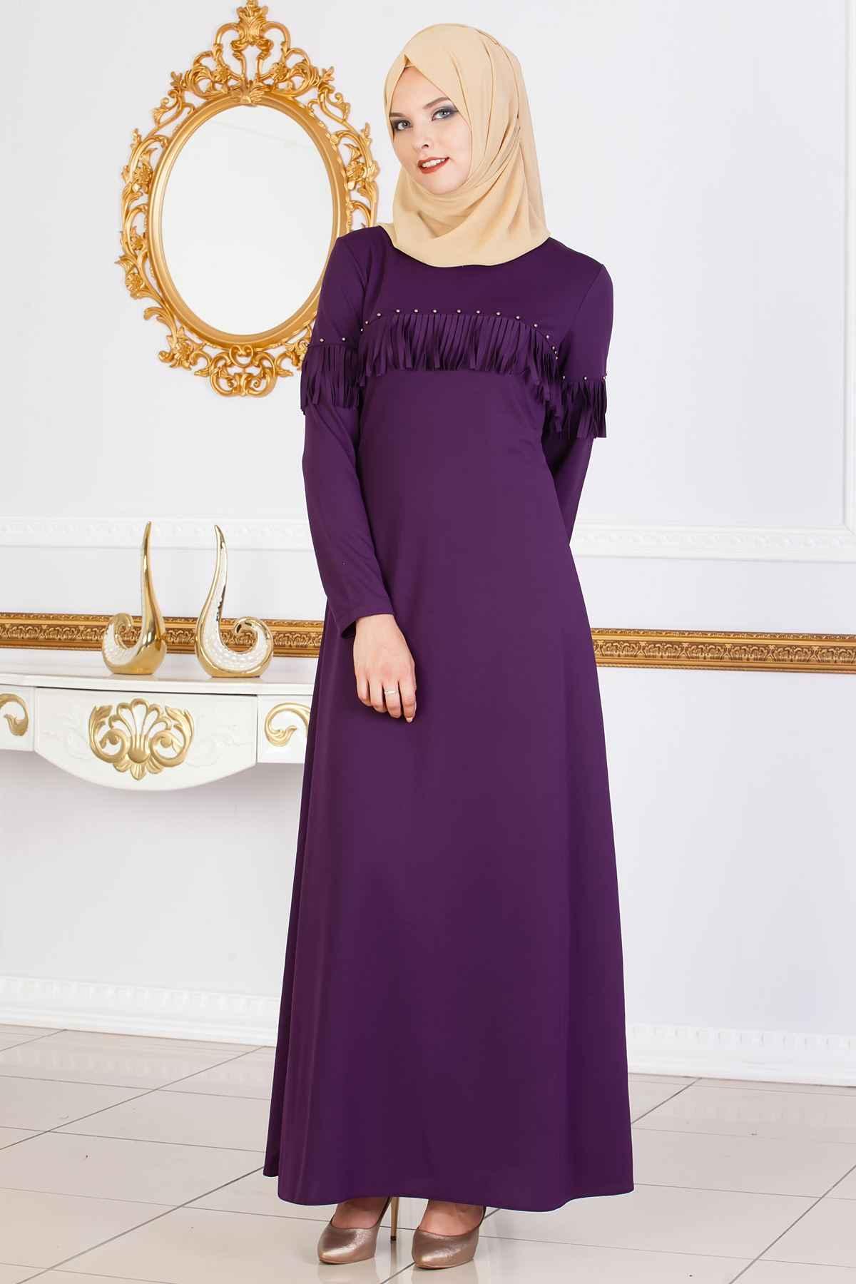 Tesettür İncili Şık Elbise Modelleri