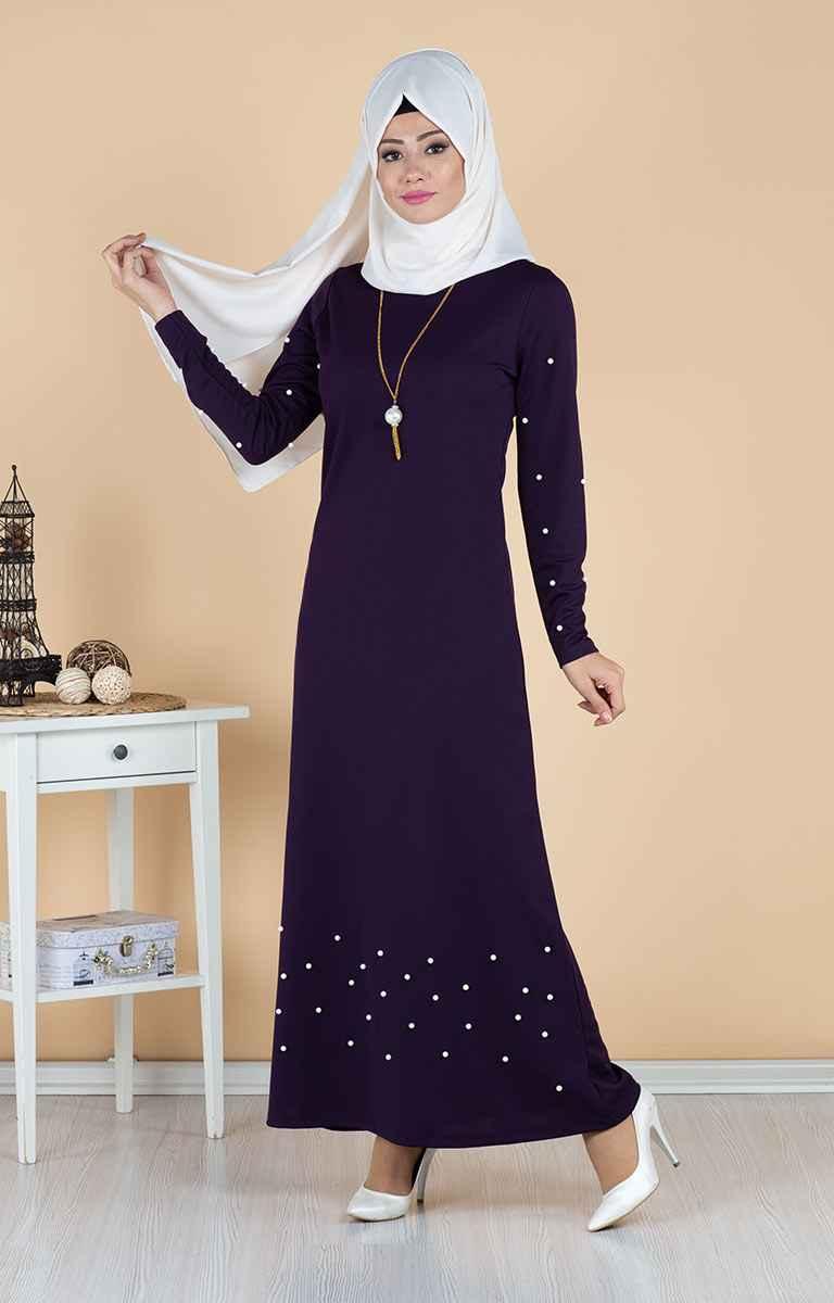 Tesettür Pazarı İncili Elbise Modelleri