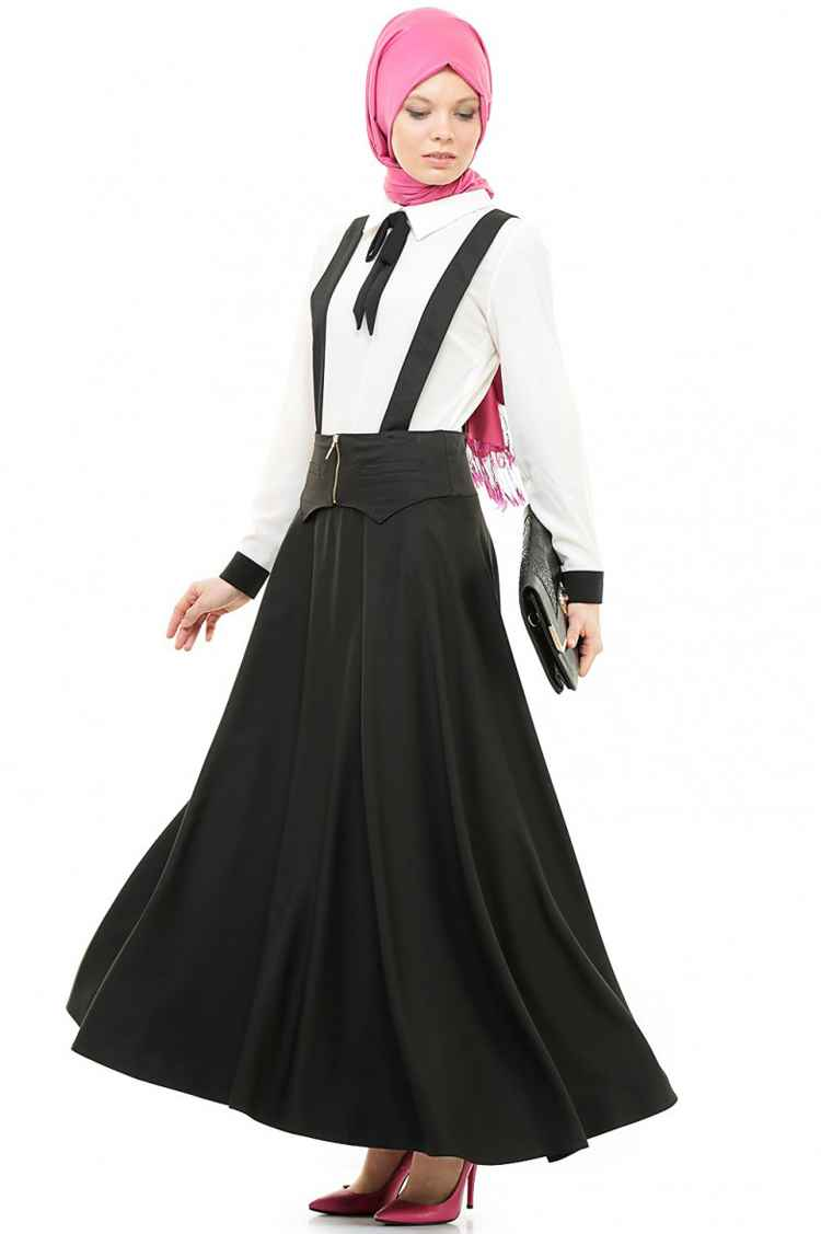 Zarif Tesettür Askılı Elbise Modelleri
