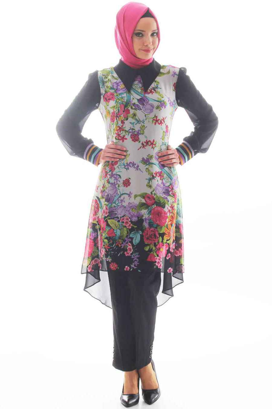Çiçek Desenli Tesettür Şifon Tunik Modelleri
