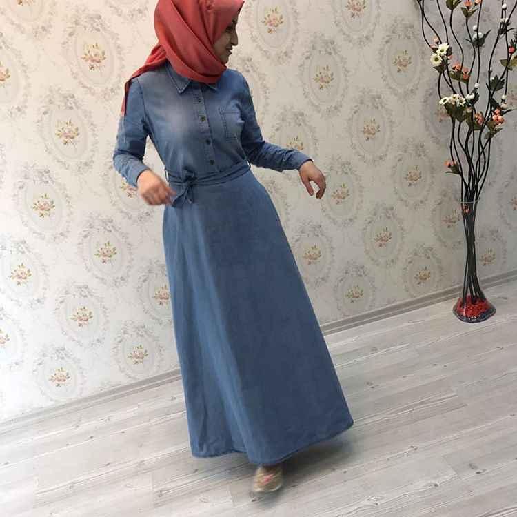 Şık ve Modern Tesettür Kot Elbise Modelleri