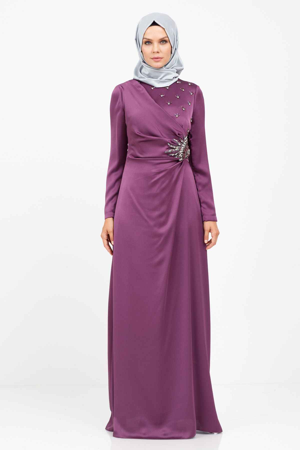 2018 Moda Tesettür Gelin Annesi Elbise Modelleri