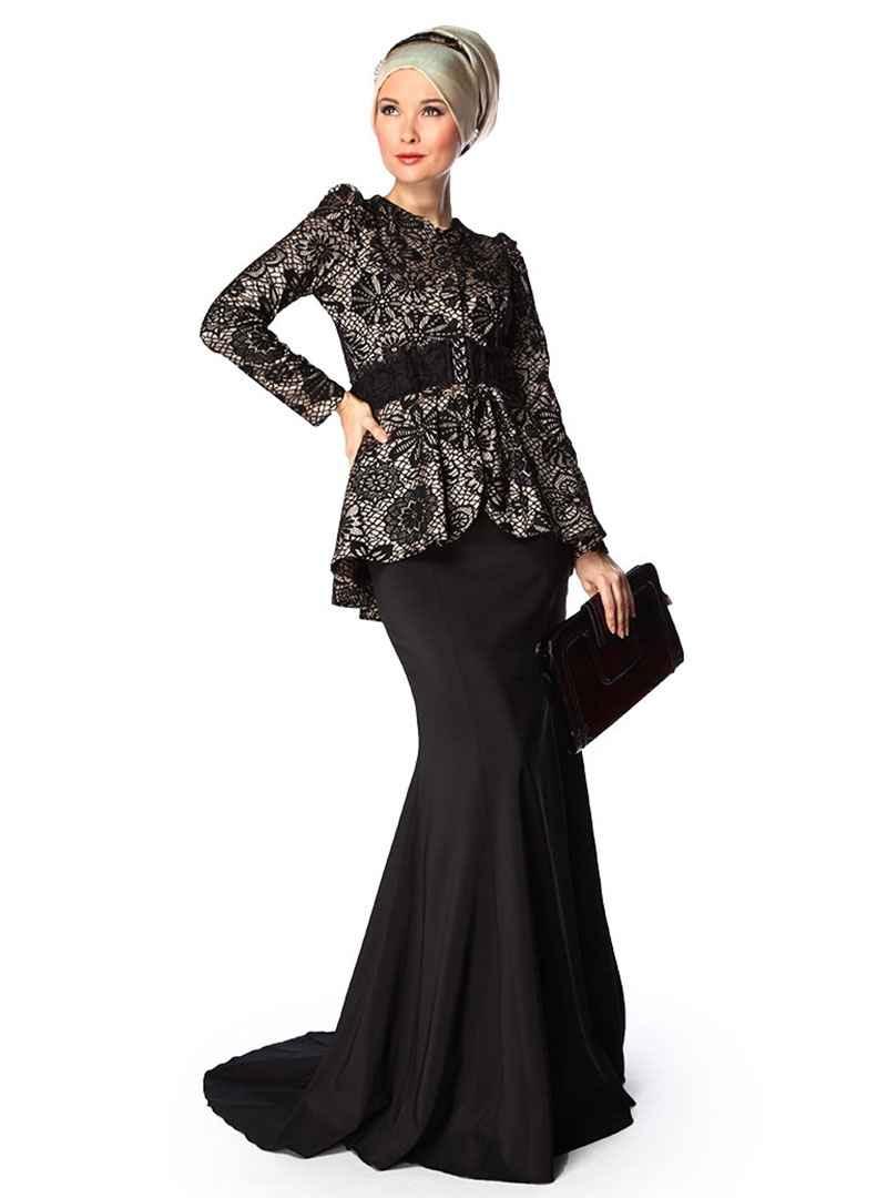 2018 Modern Tesettür Gelin Annesi Elbise Modelleri