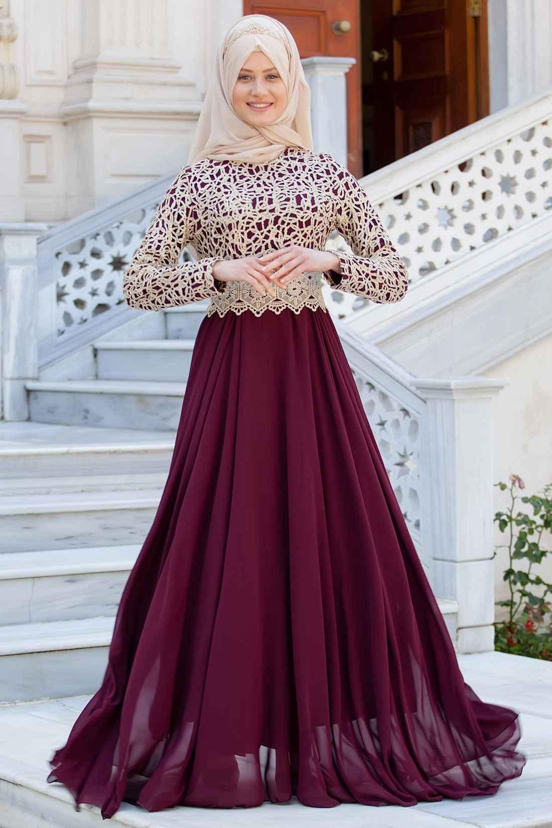 2018 Tesettür Gelin Annesi Elbise Modelleri