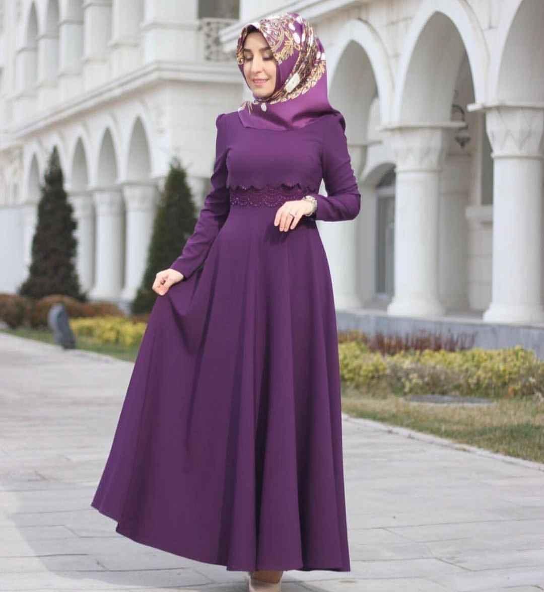 2019 Moda Tesettür Gelin Annesi Elbise Modelleri
