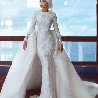 2019 Tesettür Balık Gelinlik Modelleri