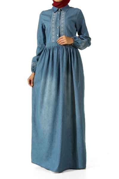 Allday Tesettür Kot Elbise Modelleri