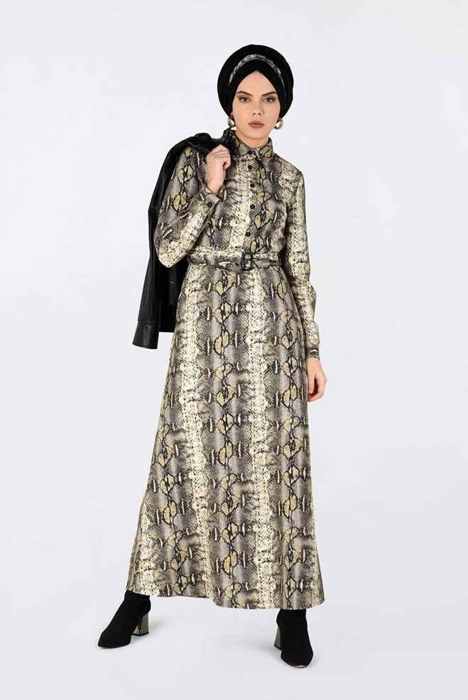 Alvina Tesettür Desenli Elbise Modelleri