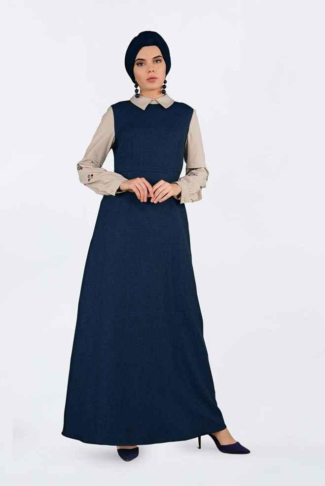 Alvina Tesettür Lacivert Elbise Modelleri