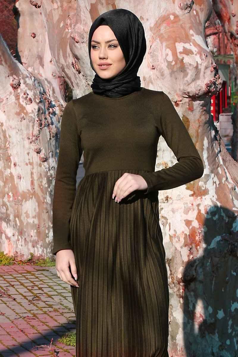 Bigdart Tesettür Piliseli Triko Elbise Modelleri