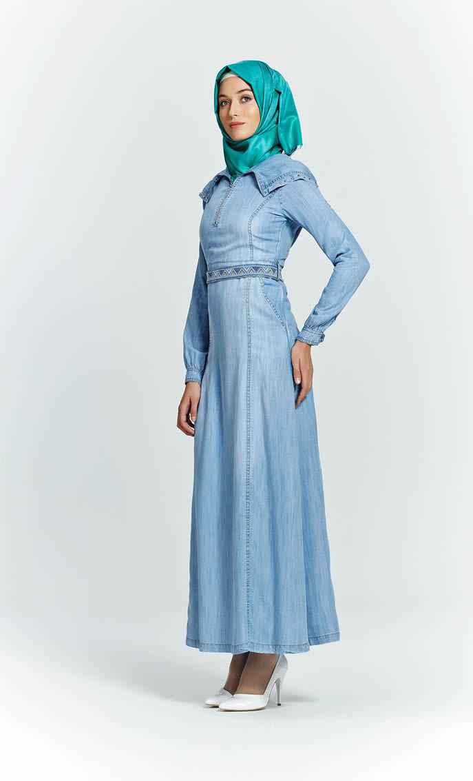 En Güzel Tesettür Kot Elbise Modelleri