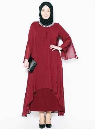Kırmızı Tesettür Gelin Annesi Elbise Modelleri