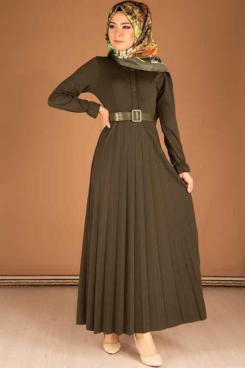 Modahira Tesettür Şık Piliseli Elbise Modelleri