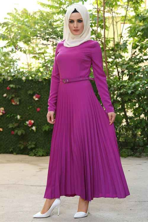 Modahira Tesettür Piliseli Elbise Modelleri