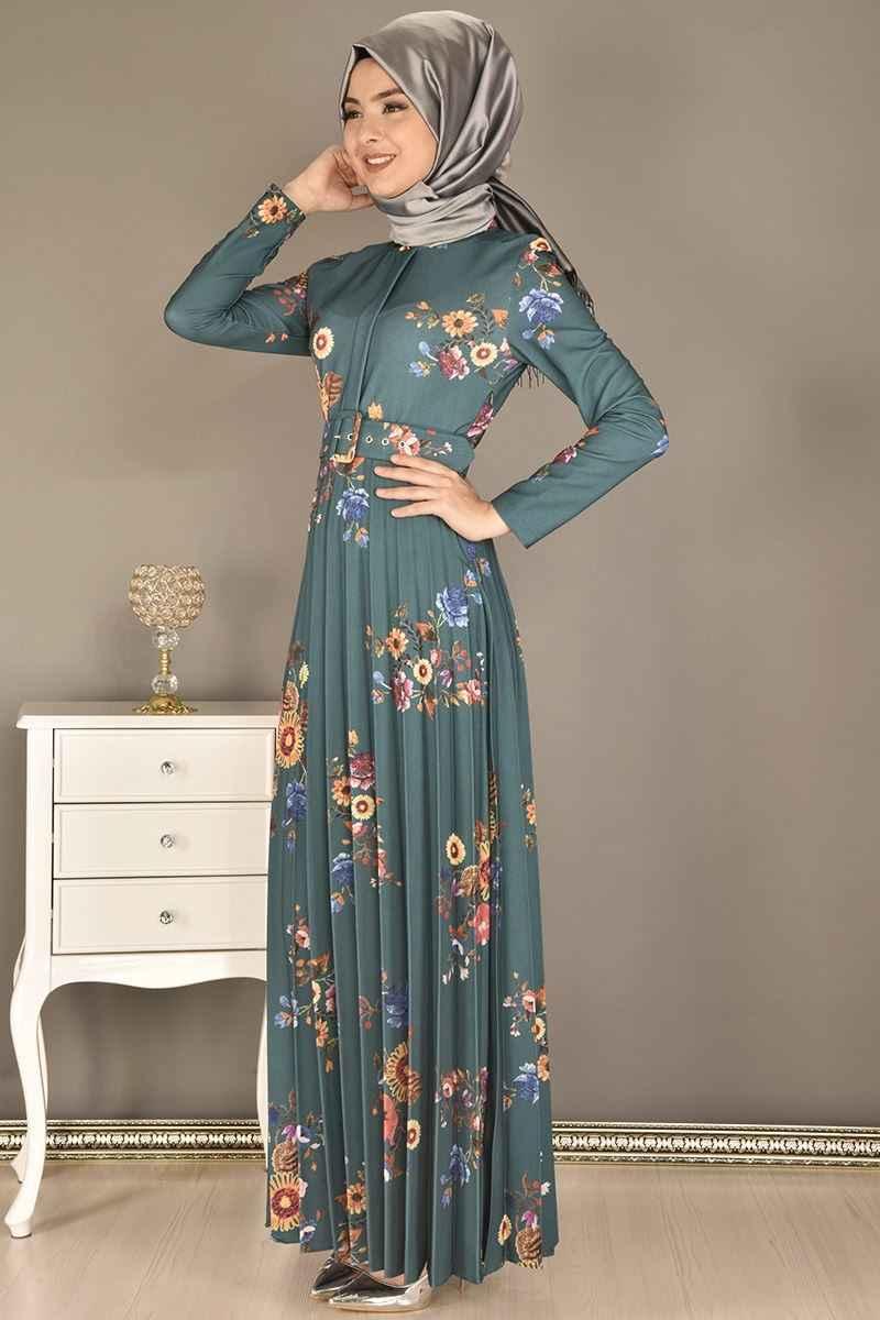 Modamerve Çiçek Desenli Tesettür Piliseli Elbise Modelleri