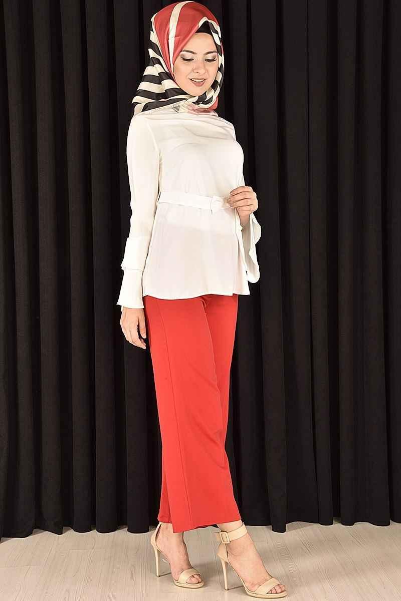 Modamerve Tesettür Beyaz Gömlek Modelleri