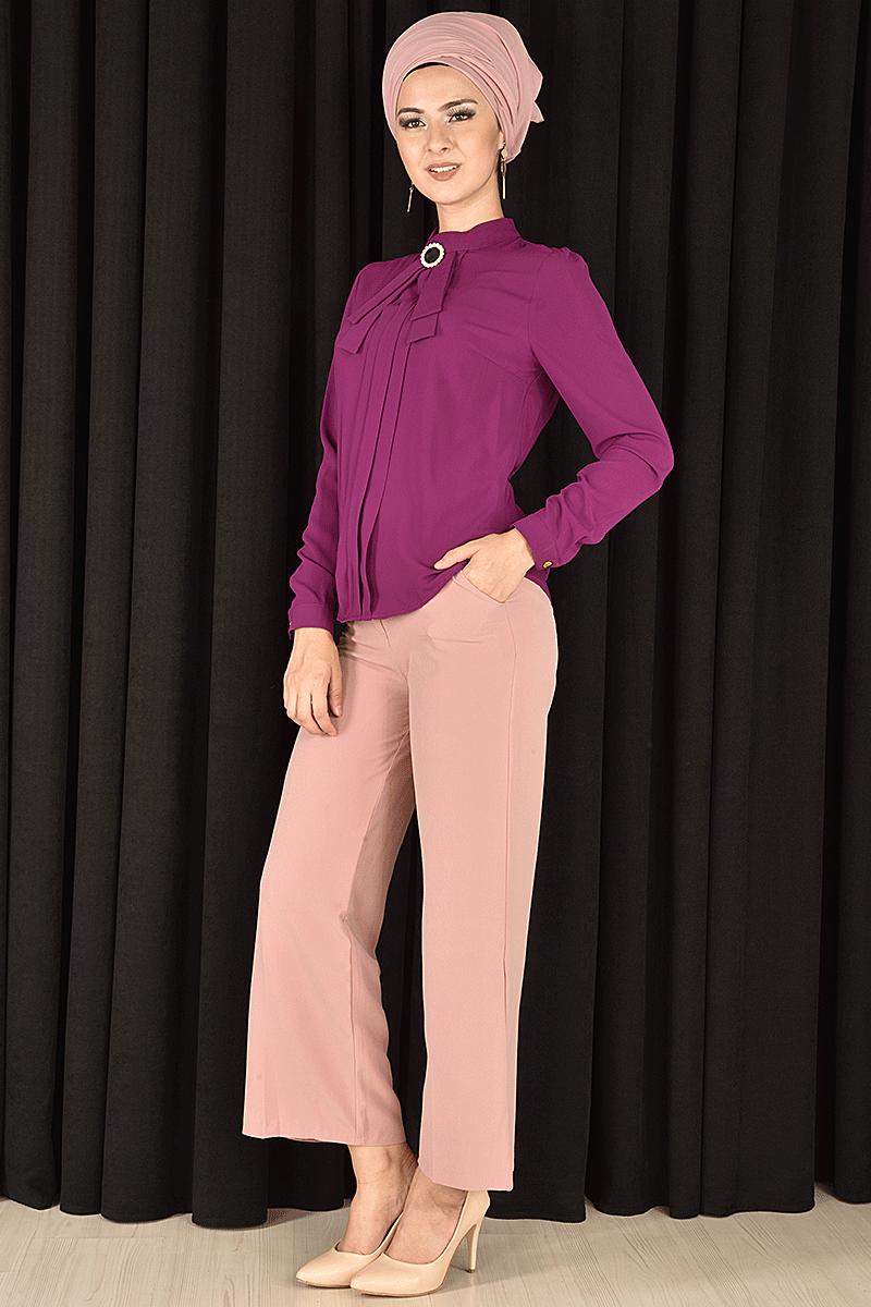 Modamerve Yaka Bağcıklı Tesettür Gömlek Modelleri