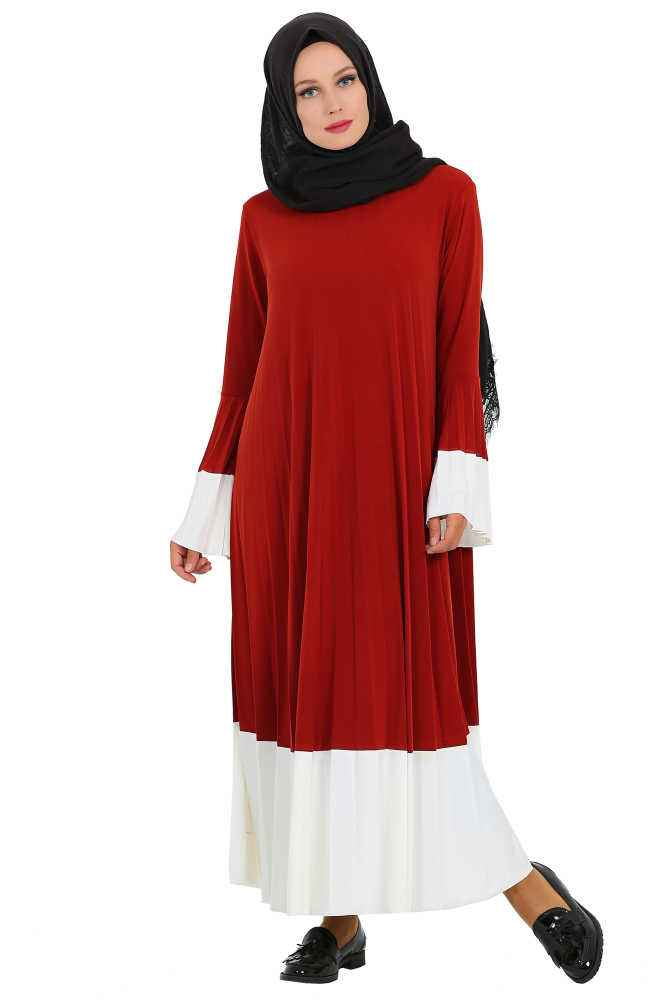 Modanur Tesettür Sandy Piliseli Elbise Modelleri